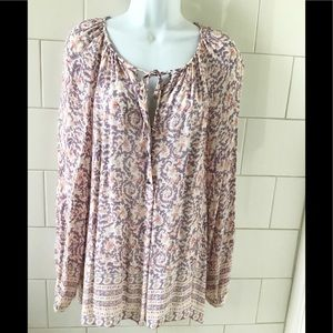 Lucky Brand Paisley Peasant Tunic Blouse L